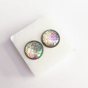 Rainbow Iridescent Mermaid Stud Earrings